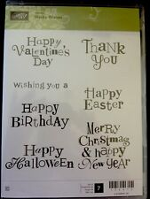 """WACKY WISHES"" Stampin'UP! NEW~CLEAR/CLING unmounted-Hostess-sayings-Christmas"