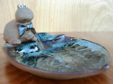 """Turtle Lou"" Pottery Craft, With Own Lilly Pad-Tray~Made In U.S.A~mid-1970's"