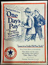 ORIGINAL World War 1 Poster New York One Day's Pay For Bonds