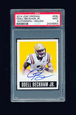 1/1 ODELL BECKHAM JR 2014 LEAF ORIGINAL YELLOW ROOKIE AUTO JERSEY NUMBER 13/99