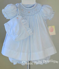 NWT Petit Ami Blue Smocked Bishop Pearl Dress Newborn Baby Girls Bonnet Bloomers