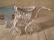 BABY  STROLLER  - Miniature Dollhouse Doll Carriage Pram 1:12 scale White