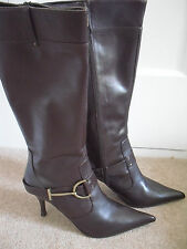 KAREN MILLEN BROWN KNEE HIGH 100% LEATHER BOOTS SIZE 39 / 6 - BNIB RRP £195