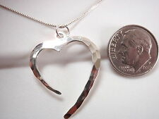 Hammered Heart Necklace 925 Sterling Silver Corona Sun Jewelry Imported Thailand