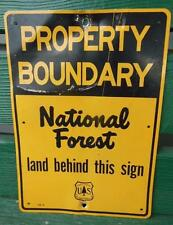 1952 NATIONAL FOREST PROPERTY BOUNDARY HUNTING FISHING METAL SIGN US SERVICE