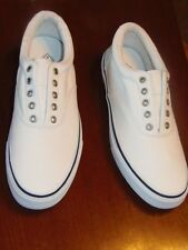 MENS, ST JOHN'S BAY, COVE WHITE  FLAT BOAT SHOES, SIZE - 10 1/2 19963-8 (S-30X3)