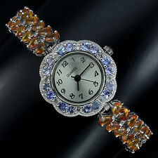 Sterling Silver 925 Genuine Natural Tanzanite & Fancy Sapphire Watch 7.5 Inches