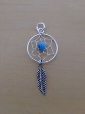 Sterling Silver Dream Catcher Pendant with Turquoise Stone, Feather, Spider Web