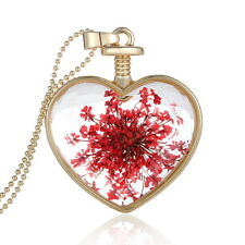 Heart Shape Glass Floating Red Dried Flower Pendant Locket Necklace Chain