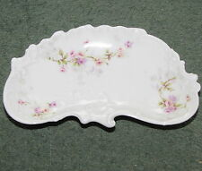 Theodore Haviland Limoges France Fancy Scalloped Bone Dish White with Flowers