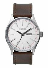 NIXON A1051113 MEN'S WATCH SENTRY 42MM STAINLESS STEEL LEATHER A105-1113