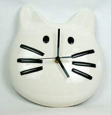 White Tuxedo Kitty Cat 3D Ceramic Wall Clock Meows 3 Times On The Hour Too Cute!