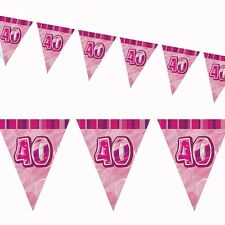 12ft Pink Sparkle Happy 40th Birthday Pennant Flag Banner Party Decoration