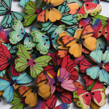 Wood Butterfly Shaped Wooden Buttons DIY Cartoon Priting Buttons 50Pcs New