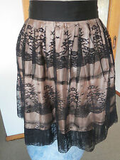 VALLEYGIRL SIZE 10 BLACK LACE SKIRT CHAMPAGNE PINK SATIN LINING ZIPS UP