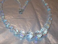 VINTAGE 80'S AB FACETED GLASS GRADUATED BEAD NECKLACE 17""