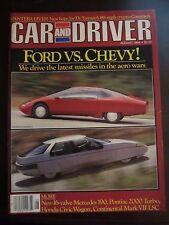 Car & Driver Magazine August 1984 Ford vs. Chevy No Label (U)