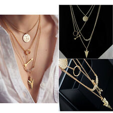 New Initial lariat Necklace Gold Multi Layer Necklace Sexy Arrow Wing Pendant