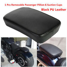 1pc Black Leather Motorcycle Rear Pillion Passenger Seat Pad 6 Sucker For Harley