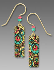 Adajio Tan Column EARRINGS w/ Circle Pattern in TURQUOISE & SALMON Pink Gift Box