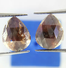 3.41TCW Pear shape Red Brown color Rose cut Loose Natural Matching Diamond Pair