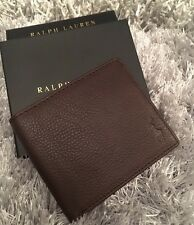 Polo Ralph Lauren Brown Leather Wallet Gift Box Mens AUTHENTIC Pony FATHERS DAY