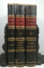 1844~Antique 3 Leather Book Lot~Old Antique Set~HOOD'S WORKS~WHIMS ODDITIES~POEM
