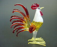 Glass COCKEREL CHICKEN HEN ROOSTER Painted Glass Animal Figure Glass Ornament