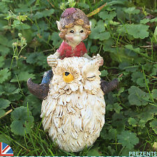 Garden Pixie Riding Owl Ornament Sculpture Outdoor Elf Goblin Fairy NEW 39111