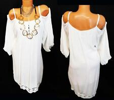 MAURICES WHITE WRINKLED COLD SHOULDER CROCHET TRIM WOMEN'S PLUS SIZE DRESS 3, 3X