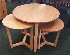 Solid Oak Circular Nest of 3 tables