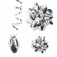 Silver Gift Wrapping Bow & Ribbon Set~ASSORTED SIZES~Christmas Presents Xmas Tag