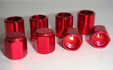 FREE SHIPPING SET OF 4 RED ALUMINUM TIRE VALVE STEM SLEEVES AND CAPS.