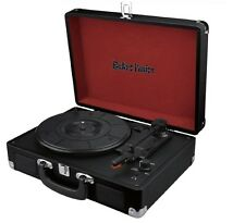 RETRO FUSION® BLACK VINYL RECORD PLAYER SUITCASE BRIEFCASE ATTACHE TURNTABLE