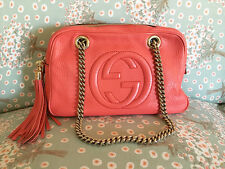Authentic GUCCI Coral Red Leather Shoulder Handbag