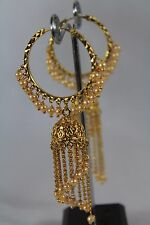 Indian Bollywood Traditional White Pearl Hoops Earring Jewellery Gold Plated 263