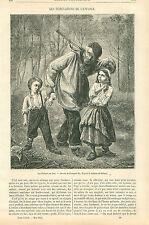 Les Enfants du Bois Fagot Garde Champêtre Châtaignes GRAVURE OLD PRINT 1864