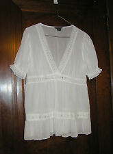 VICTORIA'S SECRET MODA SHEER LACEY WHITE PEASANT TOP COTTON SZ L 0616