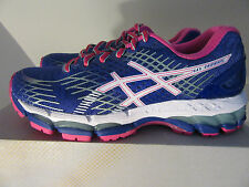 Womens Asics Gel Nimbus 17 Sneakers Shoes Size 5.5 Blue White Pink T557N 4301