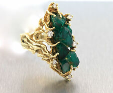 VIntage Handcrafted Free-Form Raw Emerald Diamond 14K Gold Branch Cocktail Ring