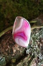 SterlingSilver/925 Ring Pink/purple/white/transparent Agate gemstone cabochon