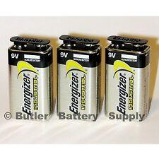 3 Energizer Industrial 9 Volt (9V) Alkaline Batteries (EN22, 6LR61, 1604)