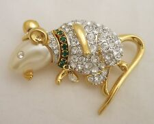 Book Piece KJL Kenneth Jay Lane House Mouse Crystal & Faux Pearl pin Brooch