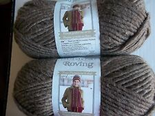 Bernat Roving bulky wool blend yarn, Bark, lot of 2 (120 yds each)