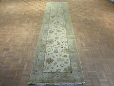 3 X 12 Runner Hand Knotted Ivory/sky Blue Oushak Oriental Rug Vegetable Dyes