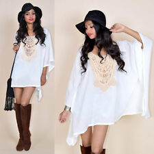 COACHELLA White Cotton Gauze Crochet Cage Collar Hippie Festival Tunic Dress Top