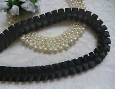 """1"""" (W) Box Pleated Ruffle Satin Ribbon Lace Trims Tape- Color Choice-T589"""