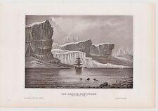 Grönland - Gletscher in der Melville-Bucht. Original Stahlstich von 1850