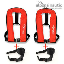 2x fully automatic Life jacket 150N red DIN EN ISO 12402-3 + 2x Crotch strap
