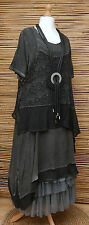LAGENLOOK*KEKOO*OVERSIZE LAYERING QUIRKY 2 PCS DRESS+OVERTOP*CHARCOAL*Size L-XL